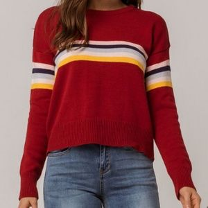 Sky and Sparrow Stripe Red Sweater
